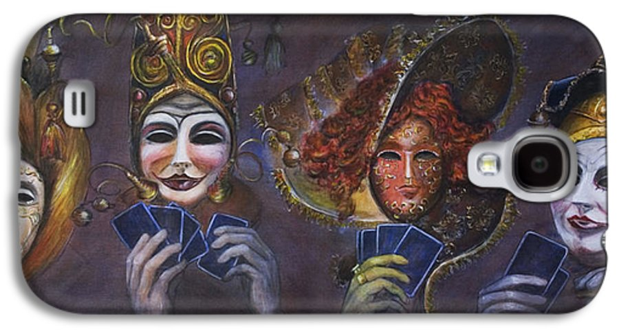 Masks Galaxy S4 Case featuring the painting Poker Face by Nik Helbig