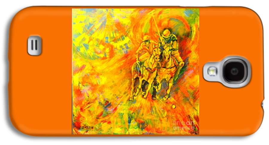 Horses Galaxy S4 Case featuring the painting Poloplayer by Dagmar Helbig