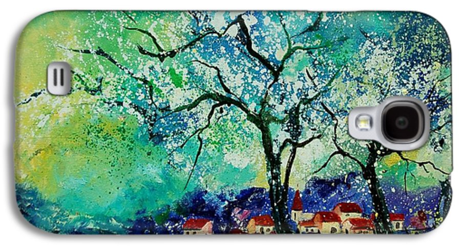 Landscape Galaxy S4 Case featuring the painting Poppies And Appletrees In Blossom by Pol Ledent