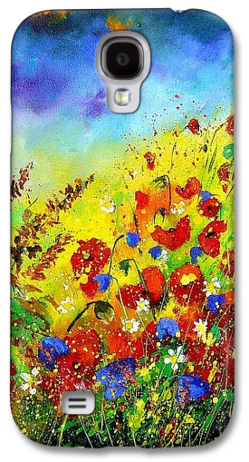 Poppies Galaxy S4 Case featuring the print Poppies And Blue Bells by Pol Ledent