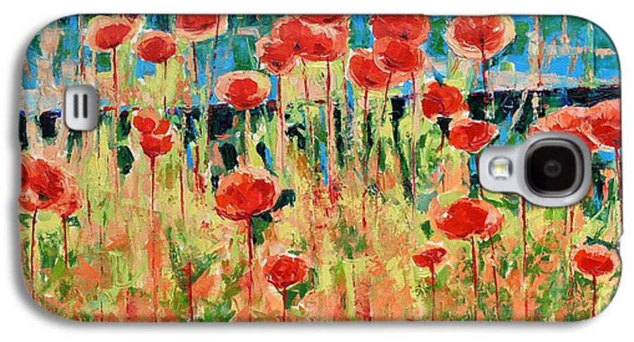 Poppies Galaxy S4 Case featuring the painting Poppies And Traverses 2 by Iliyan Bozhanov