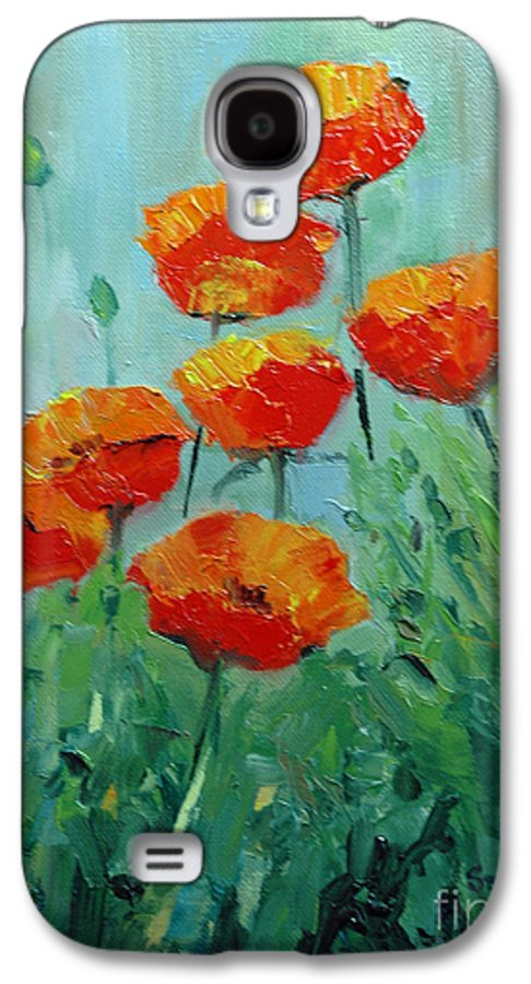 Floral Galaxy S4 Case featuring the painting Poppies For Sally by Glenn Secrest