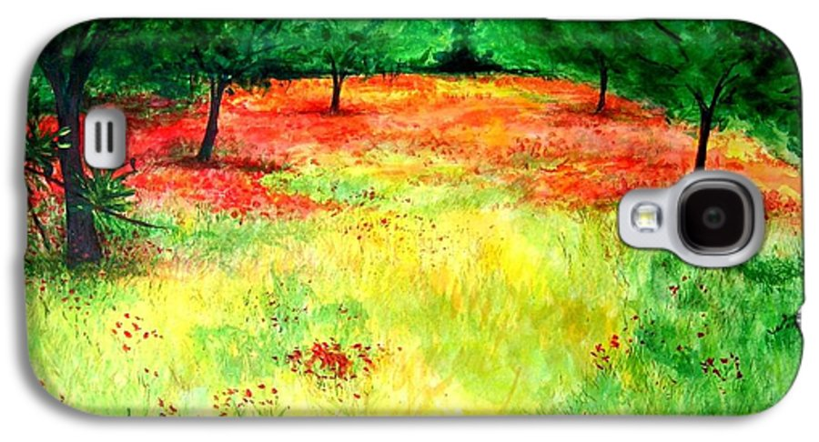 Landscape Galaxy S4 Case featuring the painting Poppies In The Almond Grove by Lizzy Forrester