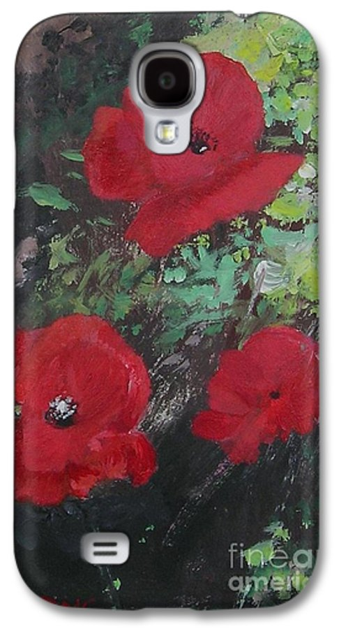 Red Galaxy S4 Case featuring the painting Poppies by Lizzy Forrester