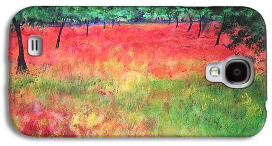 Original Landscape Painting. Poppy Field Galaxy S4 Case featuring the painting Poppy Field II by Lizzy Forrester