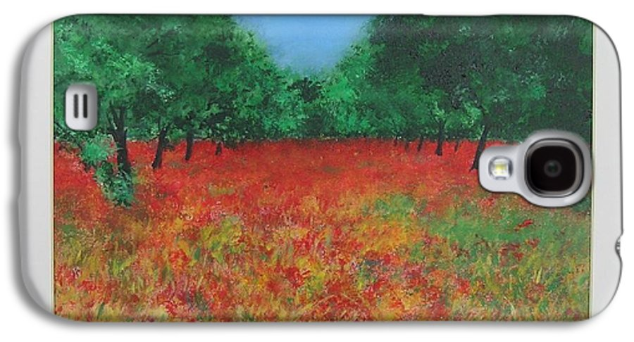 Poppy Galaxy S4 Case featuring the painting Poppy Field In Ibiza by Lizzy Forrester