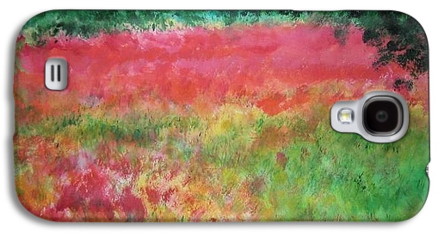 Lanscape Galaxy S4 Case featuring the painting Poppy Field by Lizzy Forrester