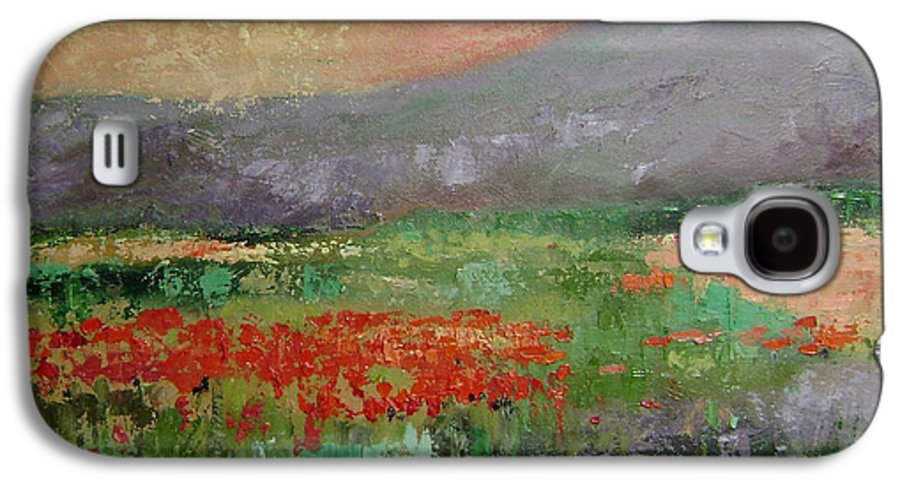 Poppies Galaxy S4 Case featuring the painting Poppyfield by Ginger Concepcion