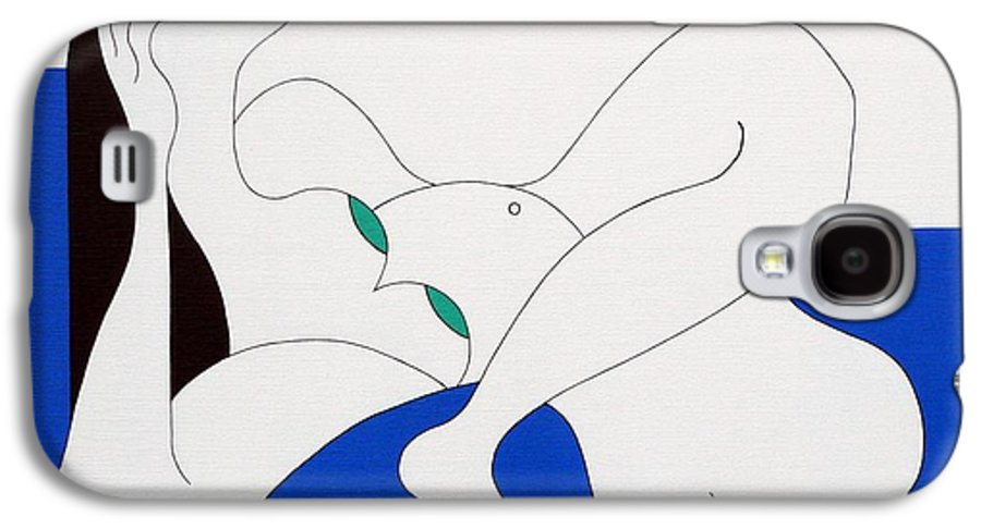 Women Green Bleu White Special Galaxy S4 Case featuring the painting Position Women by Hildegarde Handsaeme