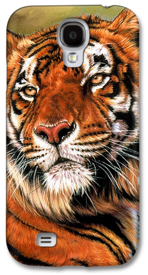Tiger Galaxy S4 Case featuring the pastel Power And Grace by Barbara Keith