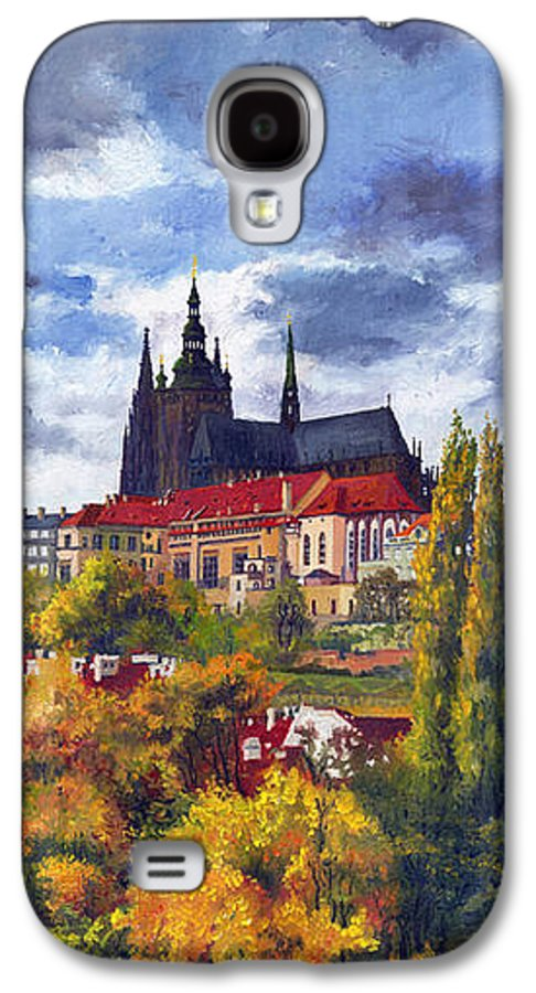 Prague Galaxy S4 Case featuring the painting Prague Castle With The Vltava River by Yuriy Shevchuk