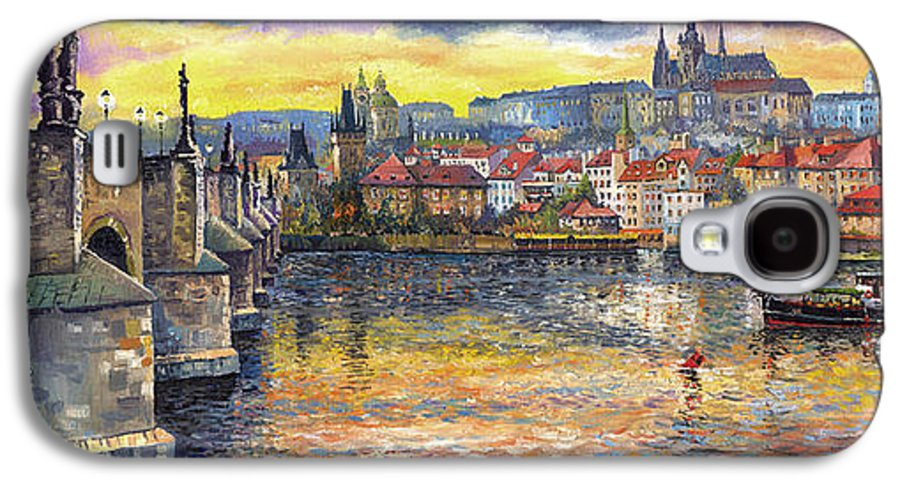 Oil On Canvas Galaxy S4 Case featuring the painting Prague Charles Bridge And Prague Castle With The Vltava River 1 by Yuriy Shevchuk