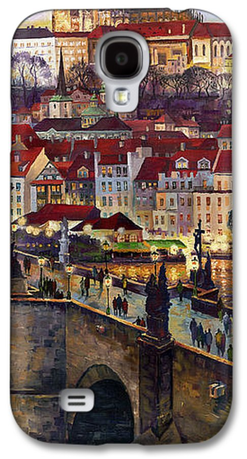 Prague Galaxy S4 Case featuring the painting Prague Charles Bridge With The Prague Castle by Yuriy Shevchuk