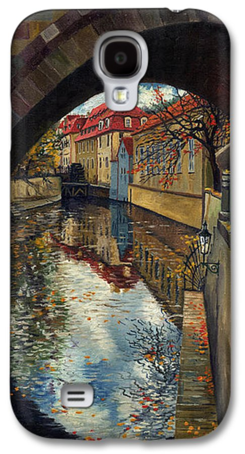 Oil Galaxy S4 Case featuring the painting Prague Chertovka 3 by Yuriy Shevchuk
