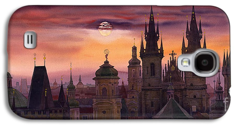 Cityscape Galaxy S4 Case featuring the painting Prague City Of Hundres Spiers by Yuriy Shevchuk