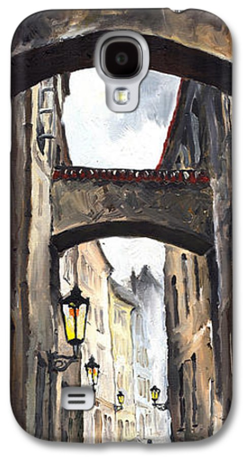 Oil On Canvas Paintings Galaxy S4 Case featuring the painting Prague Old Street 02 by Yuriy Shevchuk
