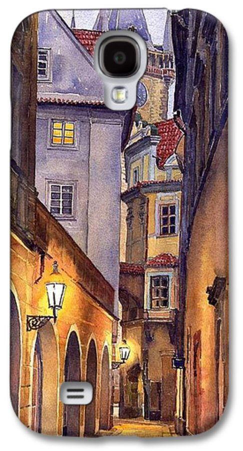 Cityscape Galaxy S4 Case featuring the painting Prague Old Street by Yuriy Shevchuk