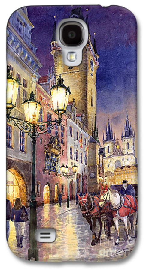 Cityscape Galaxy S4 Case featuring the painting Prague Old Town Square 3 by Yuriy Shevchuk