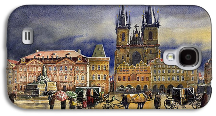 Watercolor Galaxy S4 Case featuring the painting Prague Old Town Squere After Rain by Yuriy Shevchuk