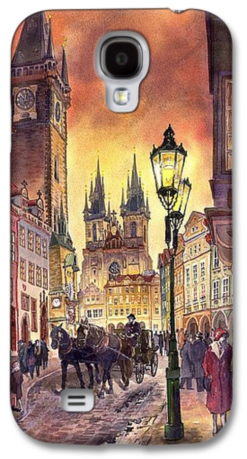 Cityscape Galaxy S4 Case featuring the painting Prague Old Town Squere by Yuriy Shevchuk