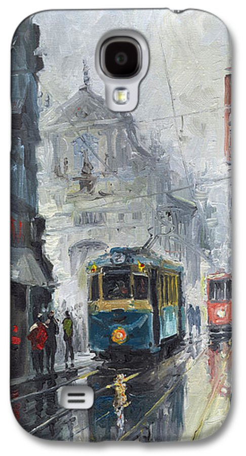 Oil On Canvas Galaxy S4 Case featuring the painting Prague Old Tram 04 by Yuriy Shevchuk