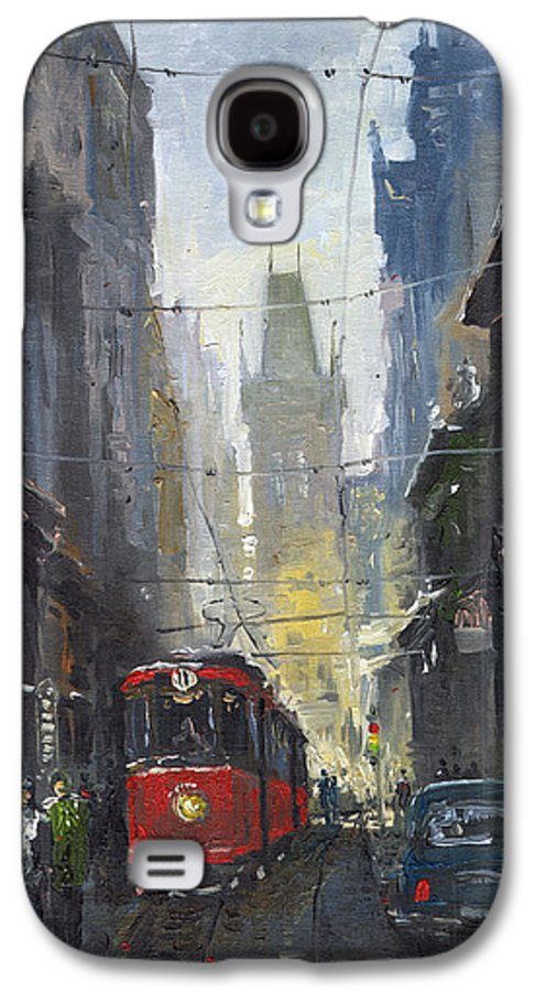 Oil On Canvas Paintings Galaxy S4 Case featuring the painting Prague Old Tram 05 by Yuriy Shevchuk