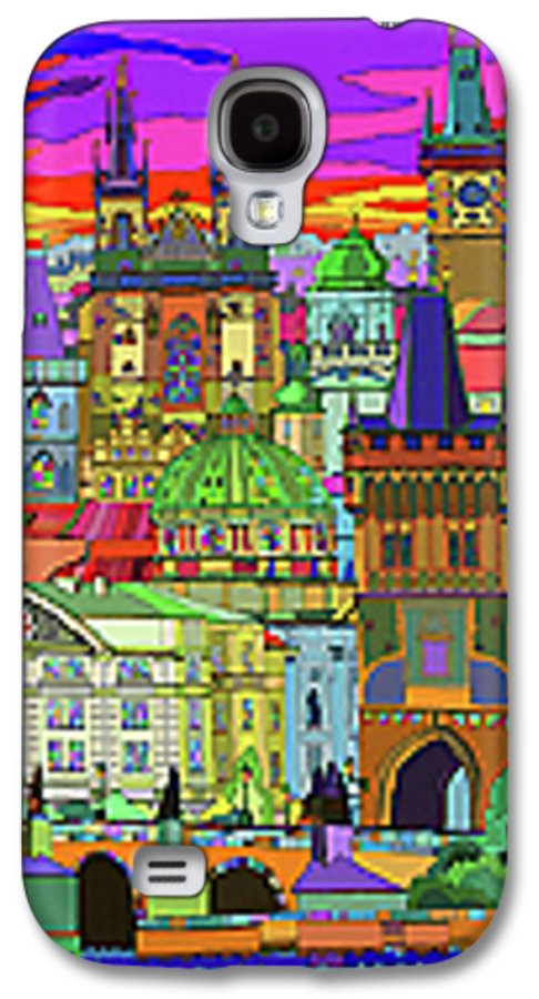 Prague Galaxy S4 Case featuring the mixed media Prague Panorama Old Town by Yuriy Shevchuk