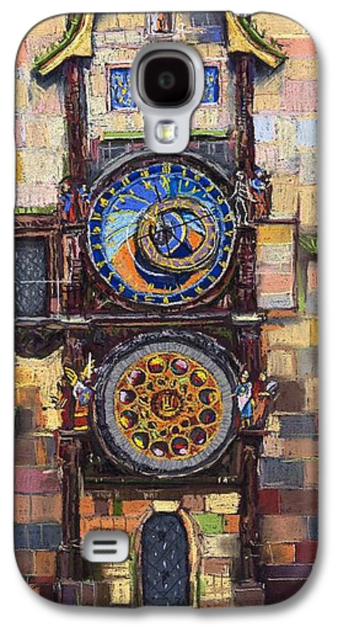 Cityscape Galaxy S4 Case featuring the painting Prague The Horologue At Oldtownhall by Yuriy Shevchuk