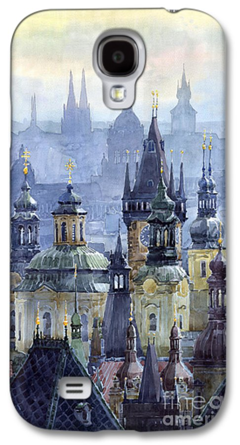 Architecture Galaxy S4 Case featuring the painting Prague Towers by Yuriy Shevchuk