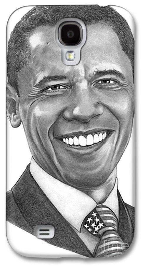 Drawing Galaxy S4 Case featuring the drawing President Barack Obama By Murphy Art. Elliott by Murphy Elliott