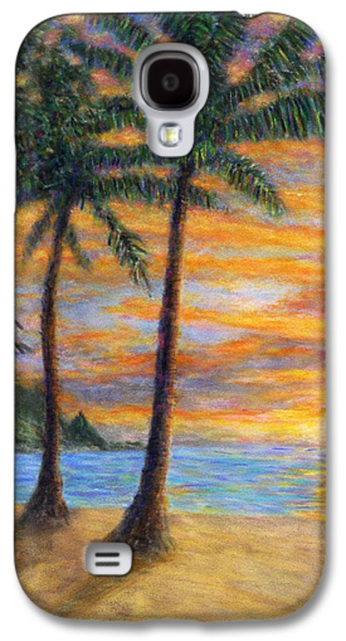 Coastal Decor Galaxy S4 Case featuring the painting Princeville Beach Palms by Kenneth Grzesik