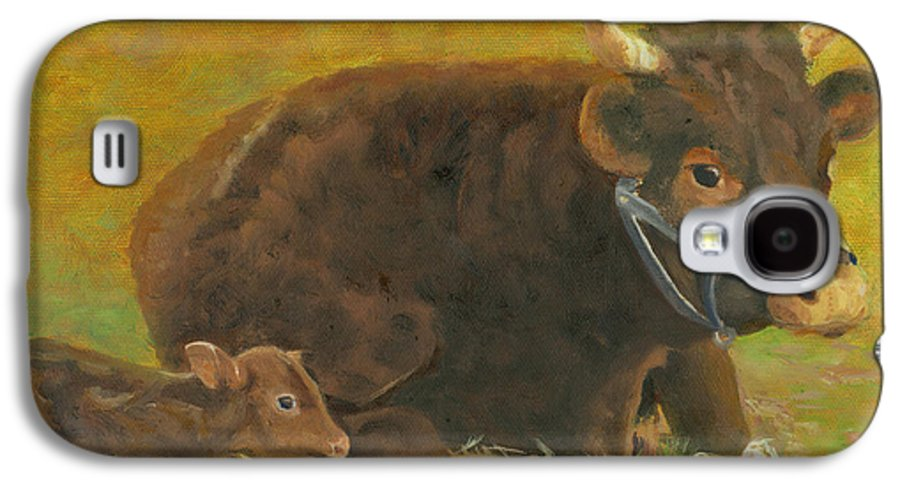 Cow Calf Bull Farmscene Galaxy S4 Case featuring the painting Proud Pappa by Paula Emery