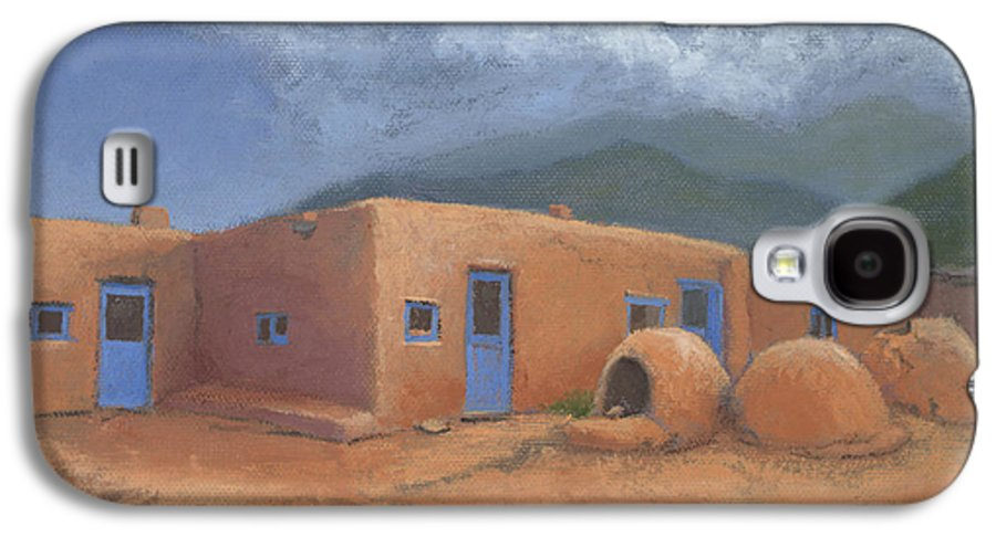 Taos Galaxy S4 Case featuring the painting Puertas Azul by Jerry McElroy