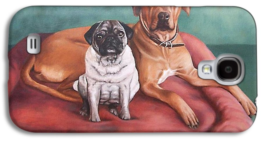 Dogs Galaxy S4 Case featuring the painting Pug And Rhodesian Ridgeback by Nicole Zeug