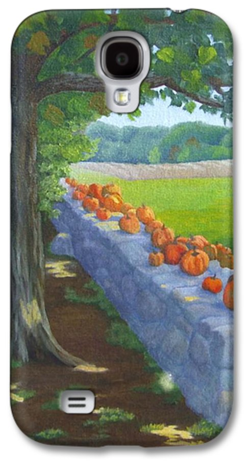 Pumpkins Galaxy S4 Case featuring the painting Pumpkin Muster by Sharon E Allen