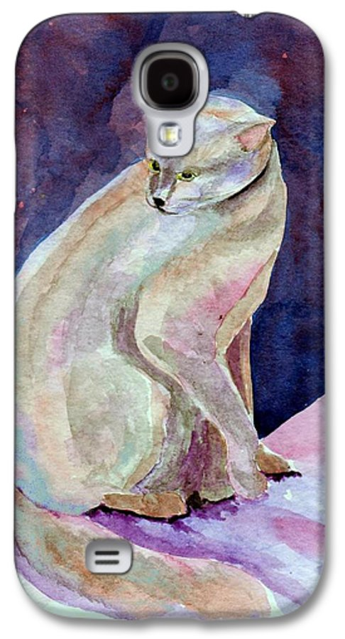 Cat Galaxy S4 Case featuring the painting Purple Cat by Susan Kubes