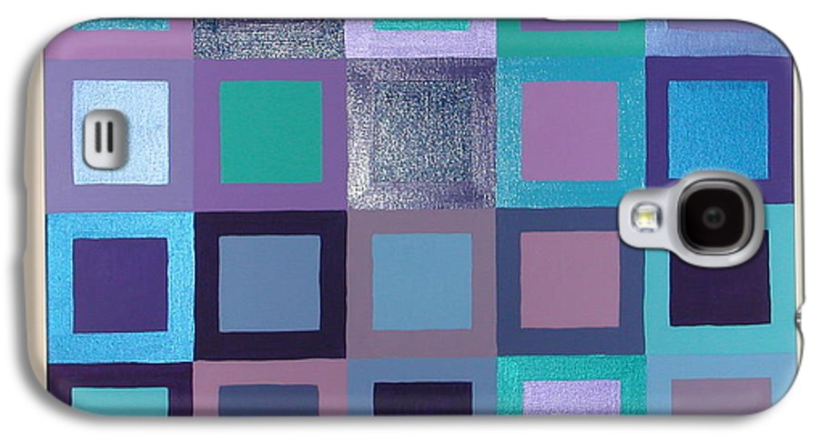 Squares Galaxy S4 Case featuring the painting Purple Haze by Gay Dallek