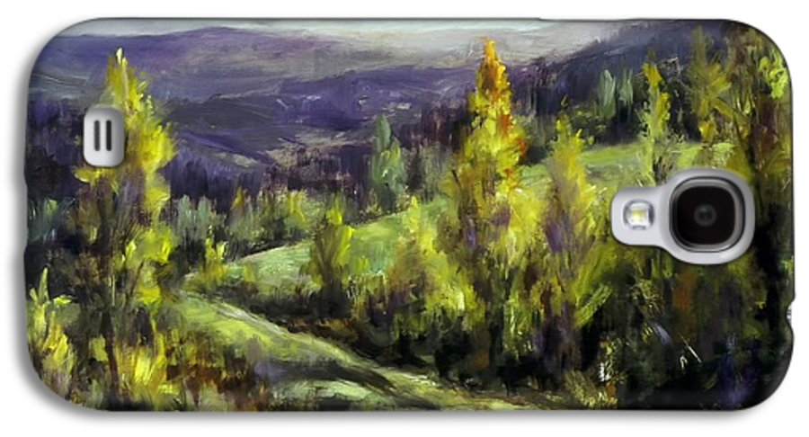 Landscape Mountains Galaxy S4 Case featuring the painting Purple Haze by Ruth Stromswold