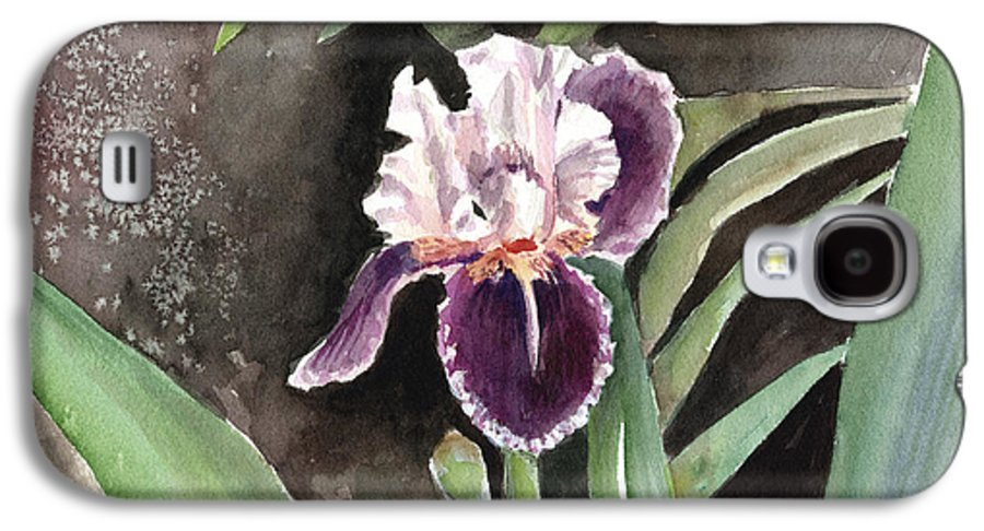 Flower Galaxy S4 Case featuring the painting Purple Iris by Arline Wagner