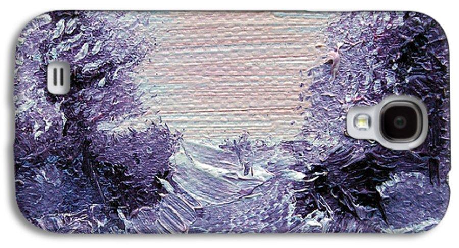Wonderous Galaxy S4 Case featuring the painting Purple Majesty Landscape by Jera Sky