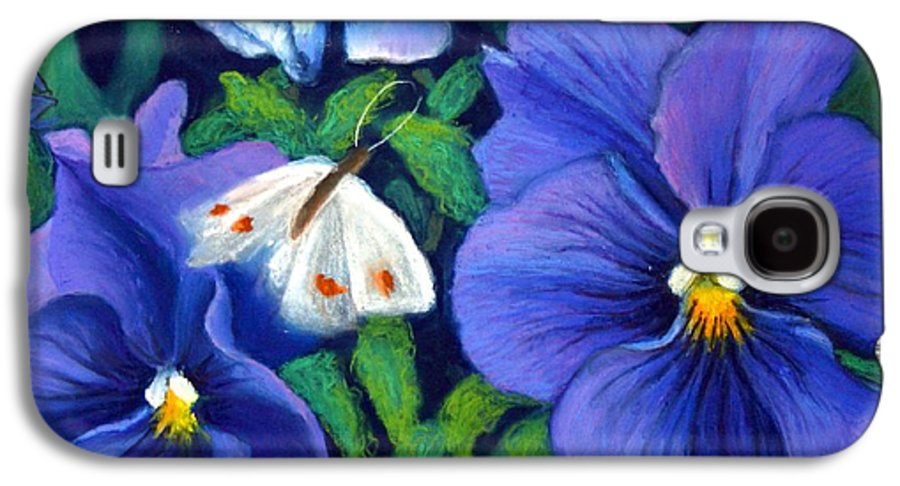 Pansy Galaxy S4 Case featuring the painting Purple Pansies And White Moth by Minaz Jantz