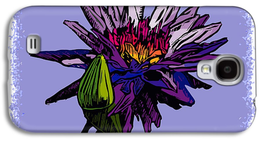 Water Lily Galaxy S4 Case featuring the drawing Purple Water Lily by John Lautermilch