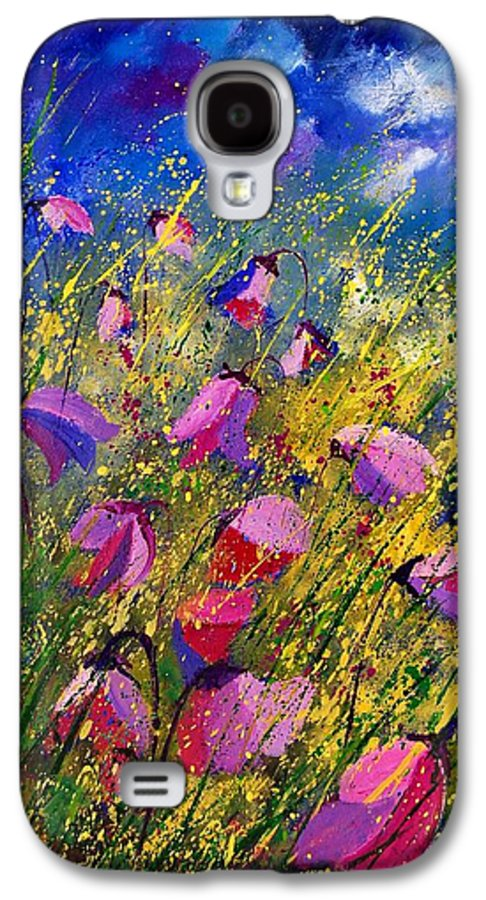 Poppies Galaxy S4 Case featuring the painting Purple Wild Flowers by Pol Ledent