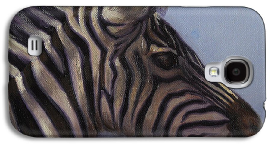 Zebra Galaxy S4 Case featuring the painting Quiet Profile by Greg Neal