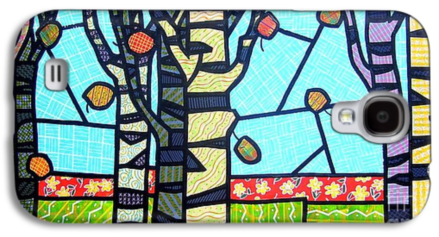 Birch Trees Galaxy S4 Case featuring the painting Quilted Birch Garden by Jim Harris