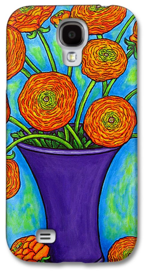 Green Galaxy S4 Case featuring the painting Radiant Ranunculus by Lisa Lorenz