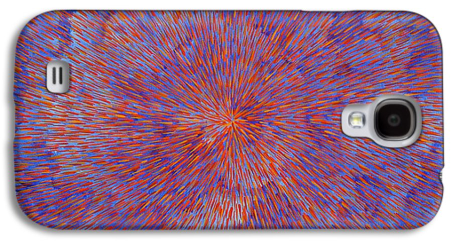 Abstract Galaxy S4 Case featuring the painting Radiation With Blue And Red by Dean Triolo