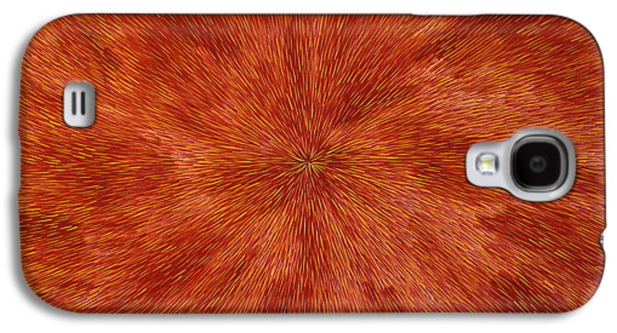 Abstract Galaxy S4 Case featuring the painting Radiation With Brown Yellow And Voilet by Dean Triolo
