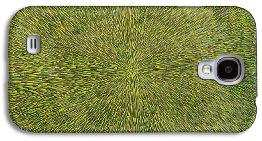 Abstract Galaxy S4 Case featuring the painting Radiation With Green With Yellow by Dean Triolo