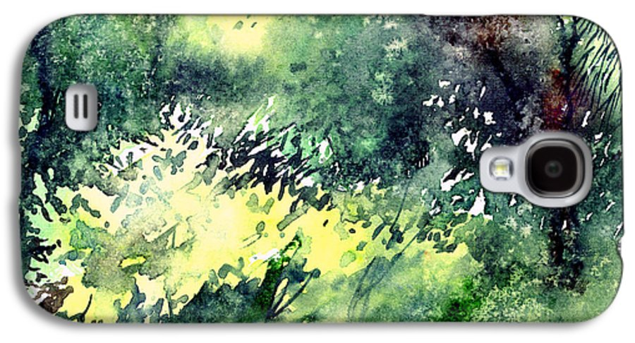 Landscape Watercolor Nature Greenery Rain Galaxy S4 Case featuring the painting Rain Gloss by Anil Nene